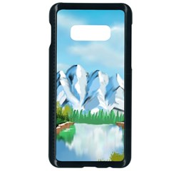 Digital Design Landscape Mountains Samsung Galaxy S10e Seamless Case (black) by Wegoenart