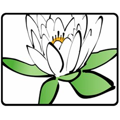 Lotus Flower Water Lily Fleece Blanket (medium)  by Bejoart