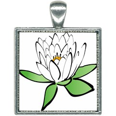 Lotus Flower Water Lily Square Necklace