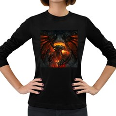 Dragon Fire Fantasy Art Women s Long Sleeve Dark T-shirt by Bejoart