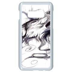 Tattoo Ink Flash Drawing Wolf Samsung Galaxy S10e Seamless Case (white) by Bejoart