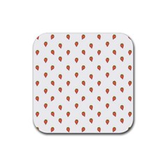 Cartoon Style Strawberry Pattern Rubber Coaster (square)  by dflcprintsclothing