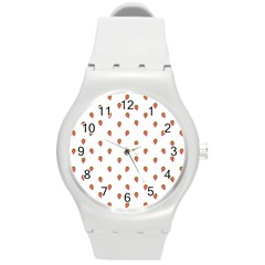 Cartoon Style Strawberry Pattern Round Plastic Sport Watch (m)