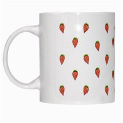 Cartoon Style Strawberry Pattern White Mugs