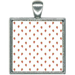 Cartoon Style Strawberry Pattern Square Necklace by dflcprintsclothing