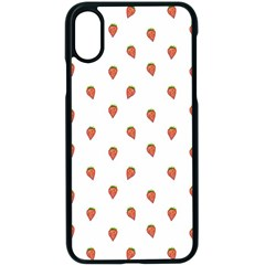 Cartoon Style Strawberry Pattern Iphone Xs Seamless Case (black) by dflcprintsclothing