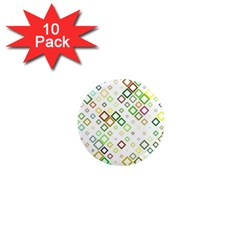 Square Colorful Geometric 1  Mini Magnet (10 Pack)  by AnjaniArt