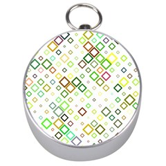 Square Colorful Geometric Silver Compasses by AnjaniArt