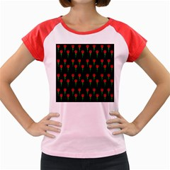 Red Water Color Rose On Black Women s Cap Sleeve T-shirt by snowwhitegirl