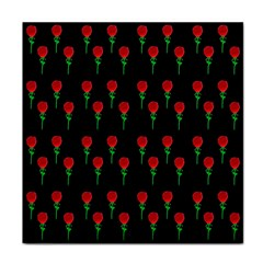 Red Water Color Rose On Black Face Towel by snowwhitegirl