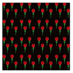Red Water Color Rose On Black Large Satin Scarf (square)