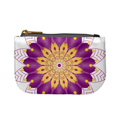 Mandala Stained Flower Drawing Mini Coin Purse