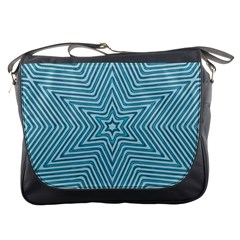 Lines Blue Repeating Textile Messenger Bag by Wegoenart