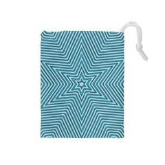 Lines Blue Repeating Textile Drawstring Pouch (medium)