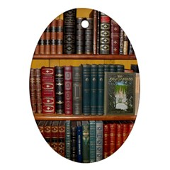 Books Library Bookshelf Bookshop Oval Ornament (two Sides)