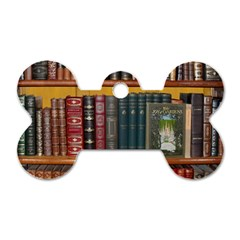 Books Library Bookshelf Bookshop Dog Tag Bone (one Side)