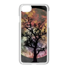 Full Moon Silhouette Tree Night Iphone 8 Seamless Case (white) by Wegoenart