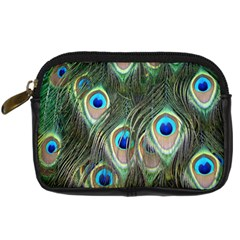 Peacock Feathers Peacock Bird Digital Camera Leather Case