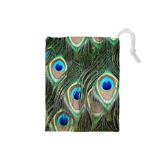 Peacock Feathers Peacock Bird Drawstring Pouch (small)
