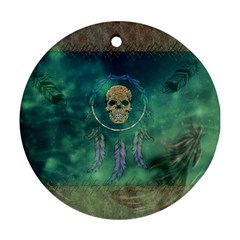 Dreamcatcher With Skull Ornament (round) by FantasyWorld7