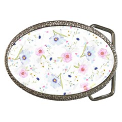 Pink Blue Flowers Pattern                        Belt Buckle by LalyLauraFLM