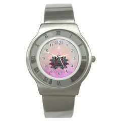 Abstract Decorative Floral Design, Mandala Stainless Steel Watch by FantasyWorld7