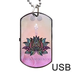 Abstract Decorative Floral Design, Mandala Dog Tag Usb Flash (one Side)