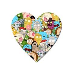 Rick And Morty Pattern Heart Magnet by Valentinaart