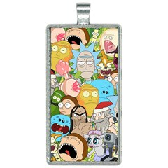 Rick And Morty Pattern Rectangle Necklace
