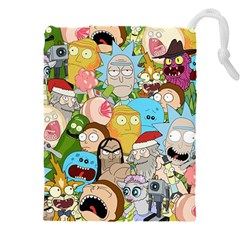 Rick And Morty Pattern Drawstring Pouch (xxxl) by Valentinaart