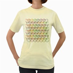 Valentine Hearts Women s Yellow T Shirt