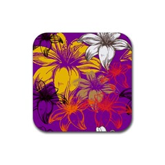 Fancy Tropical Floral Pattern Rubber Coaster (square)  by tarastyle