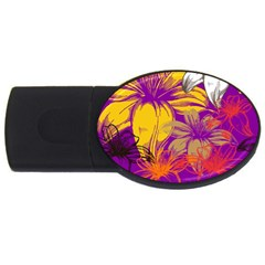 Fancy Tropical Floral Pattern Usb Flash Drive Oval (4 Gb) by tarastyle
