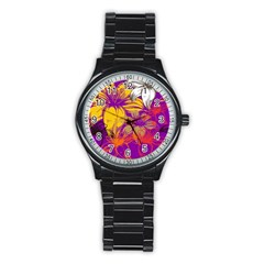 Fancy Tropical Floral Pattern Stainless Steel Round Watch by tarastyle