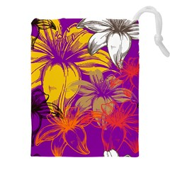 Fancy Tropical Floral Pattern Drawstring Pouch (xxxl)