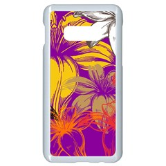 Fancy Tropical Floral Pattern Samsung Galaxy S10e Seamless Case (white) by tarastyle