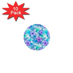 Fancy Tropical Floral Pattern 1  Mini Buttons (10 Pack)