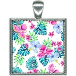 Fancy Tropical Floral Pattern Square Necklace Front