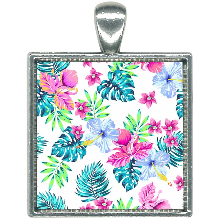 Fancy Tropical Floral Pattern Square Necklace