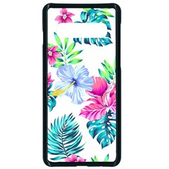 Fancy Tropical Floral Pattern Samsung Galaxy S10 Seamless Case(black) by tarastyle