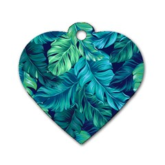 Fancy Tropical Floral Pattern Dog Tag Heart (one Side) by tarastyle