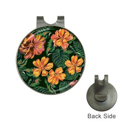 Fancy Tropical Floral Pattern Hat Clips With Golf Markers by tarastyle