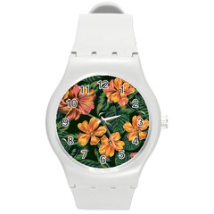 Fancy Tropical Floral Pattern Round Plastic Sport Watch (m) by tarastyle
