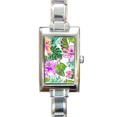 Fancy Tropical Floral Pattern Rectangle Italian Charm Watch by tarastyle