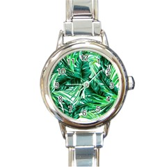 Fancy Tropical Floral Pattern Round Italian Charm Watch by tarastyle
