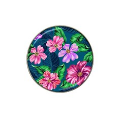Fancy Tropical Floral Pattern Hat Clip Ball Marker (4 Pack) by tarastyle