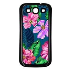 Fancy Tropical Floral Pattern Samsung Galaxy S3 Back Case (black) by tarastyle