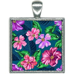 Fancy Tropical Floral Pattern Square Necklace by tarastyle