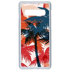 Fancy Tropical Floral Pattern Samsung Galaxy S10 Seamless Case(white) by tarastyle