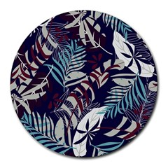 Fancy Tropical Floral Pattern Round Mousepads by tarastyle